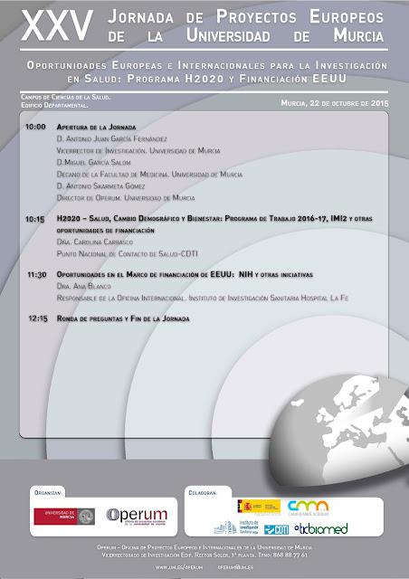 """Jornada: """"Oportunidades Europeas e Internacionales para la Investigación en Salud: Programa H2020 y Financiación EEUU"""""""