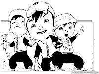 Gambar Tiga Elemen Kekuatan BoboiBoy Untuk Diwarnai