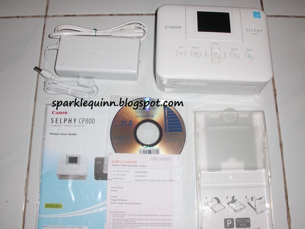 SPARKLE QUINN: Canon Photo Printer Selphy CP800 + Canon Color Ink & Paper Set KP-108IN Review