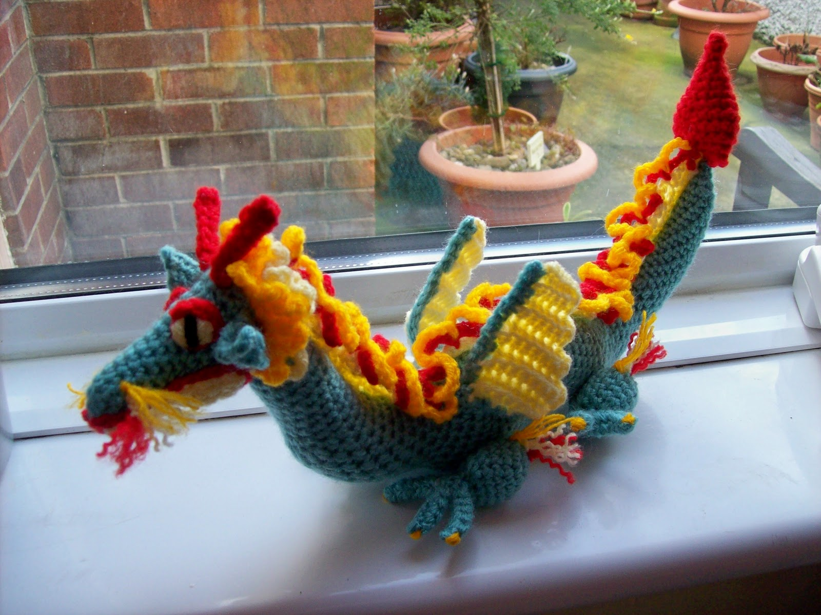 Amigurumi Chinese Dragon : Side View Red Welsh Dragon knitted knitsrus Images - Frompo