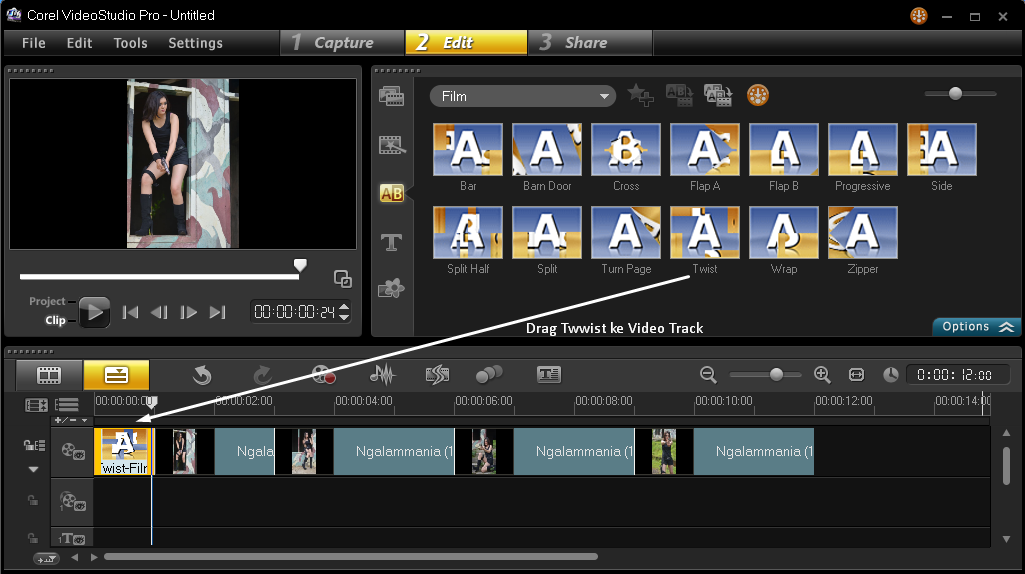 Menambakan Efek Transition Corel Video Studio 4
