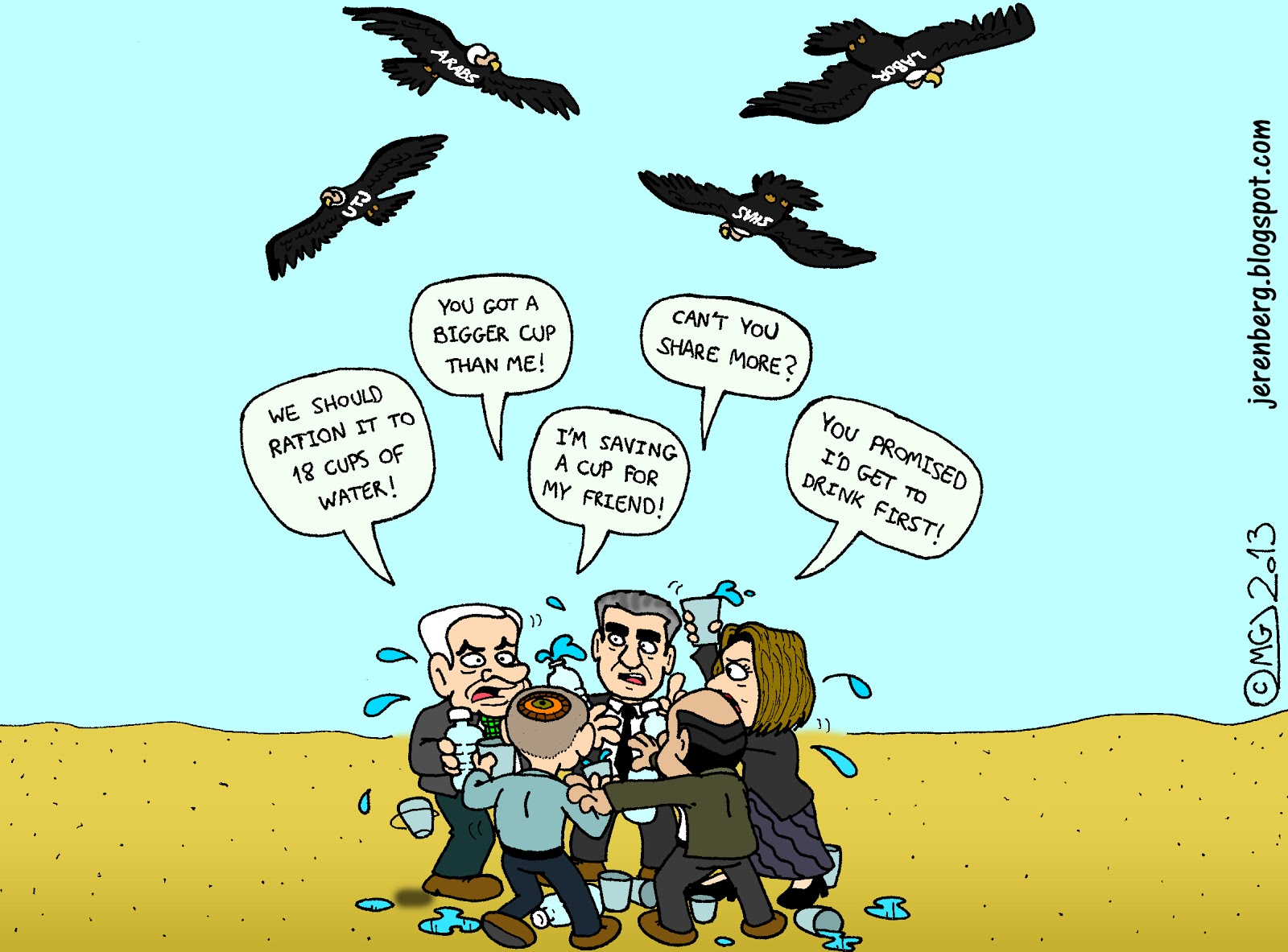 Cartoons pic of rainy day images amp pictures becuo - Politicians People Arguing In Middle Of Desert Binyamin Bibi Netanyahu Yair Lapid Tzipi Livni Shaul Mofaz