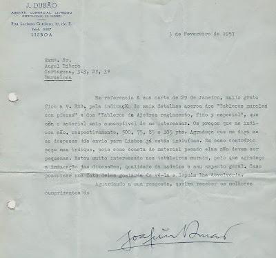 Carta de Joaquim Durao a Ángel Ribera