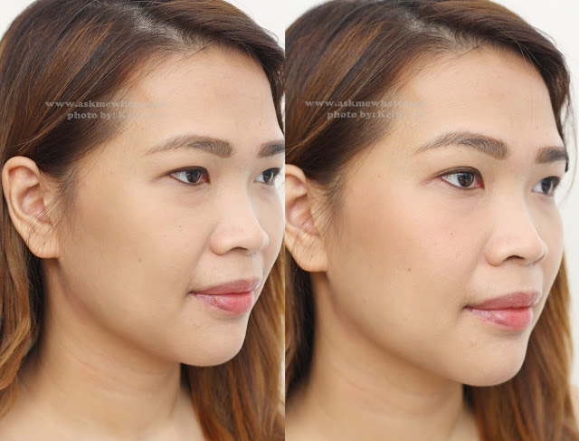 Before and after photo of a girl using  Celeteque Cheek Color Stick in Peach