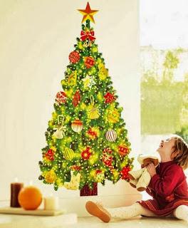 Diy originales rboles de navidad pegados en la pared decoraci n del hogar dise o de Disenos de arboles de navidad