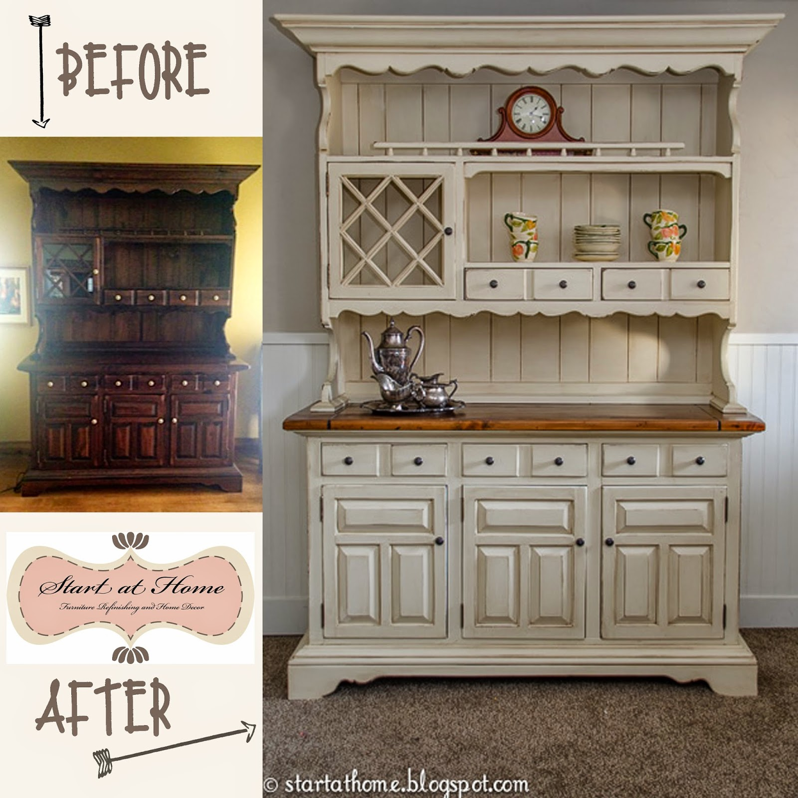 Start at home a beautiful hutch makeover for Painted dining room hutch ideas