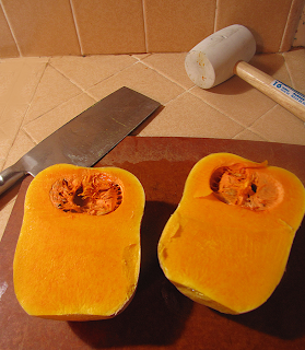 Butternut Squash Halves after Cutting