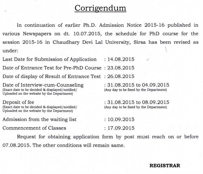 CDLU PH.D. ADMISSION 2015-16