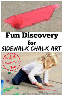 What a simple but FUN discovery for using sidewalk chalk to make really vibrant art outdoors! Preschoolers and toddlers will love the colors and even older school age kids can do really fun blending and drawing. Really cool idea!