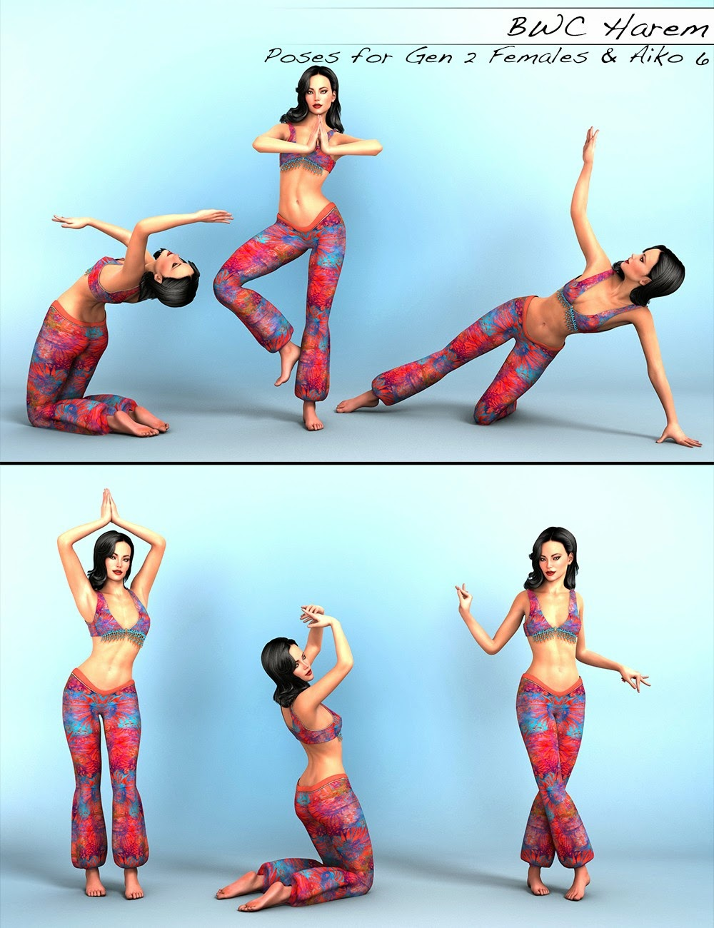 BWC Harem - Poses for Genesis 2 Female(s) and Aiko 6