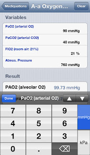 Mediquations Medical Calculator app on an iPhone by Apple Inc.