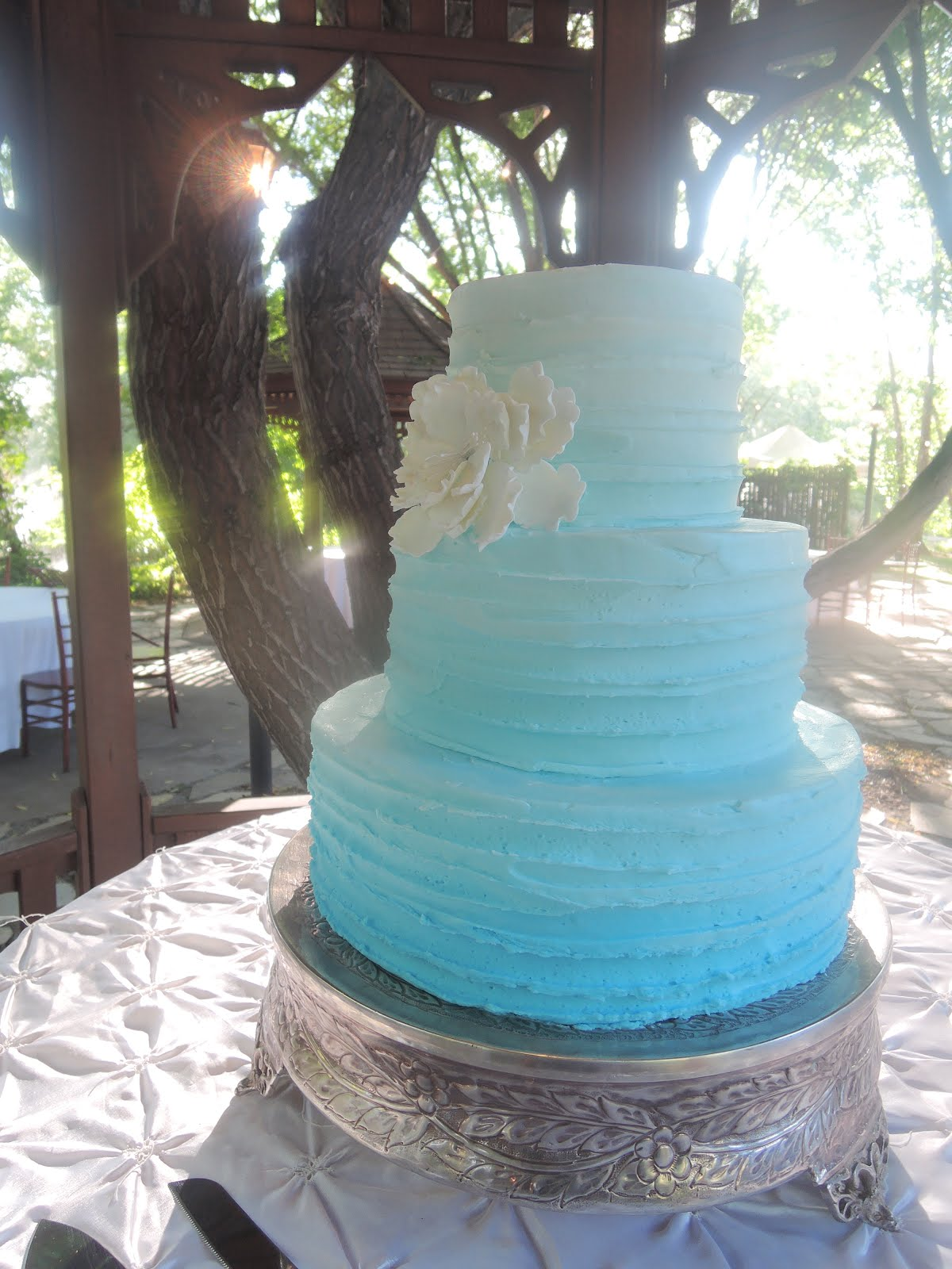 3-tier round blue ombre buttercream