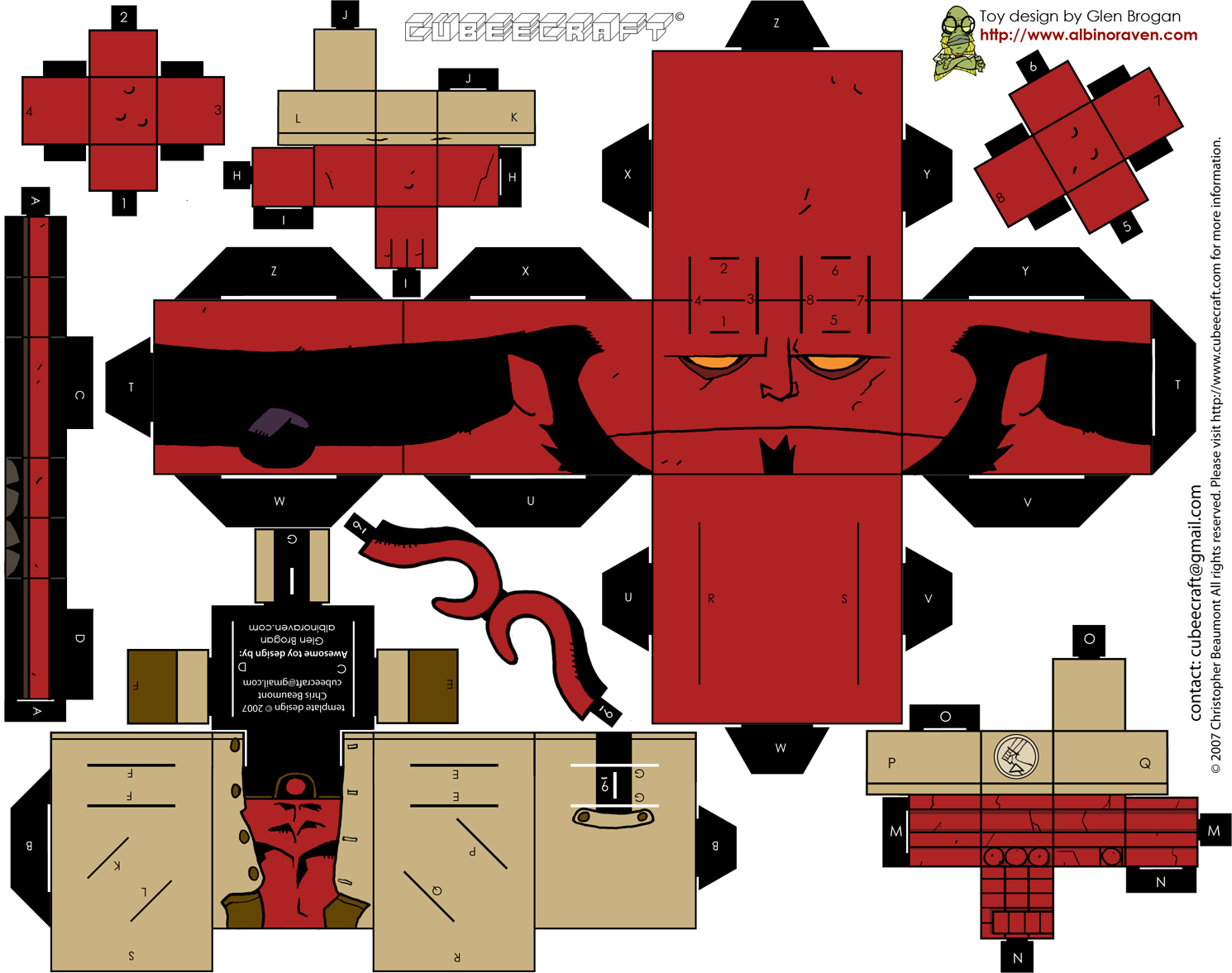 Oci ilerget cubeecraft xi hellboy for Recortar papel figuras