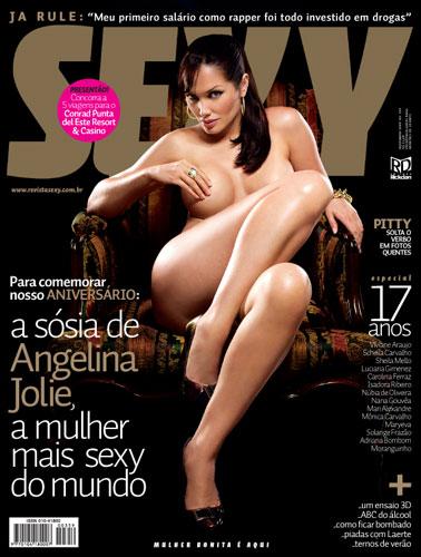 Confira as fotos da Sósia da Angelina Jolie, Lucila Siclaco, capa da Sexy de novembro de 2009!