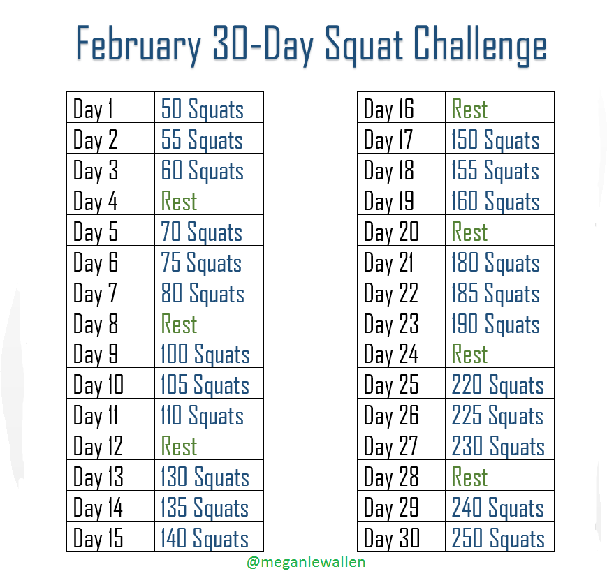 February 2015 Squat Challenge | New Calendar Template Site