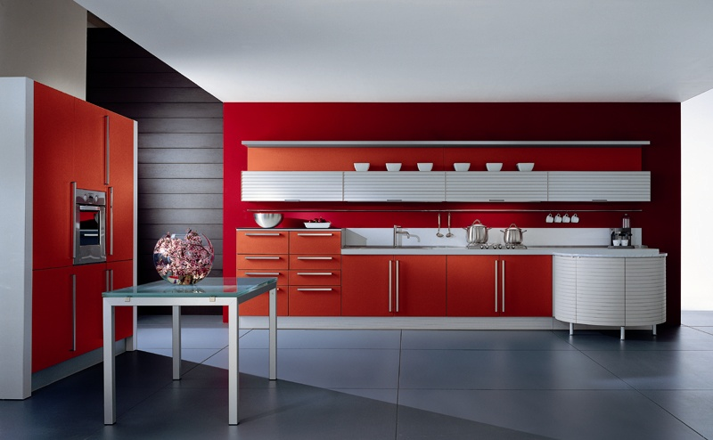 Italian Contemporary Red Kitchen Design In San Diego
