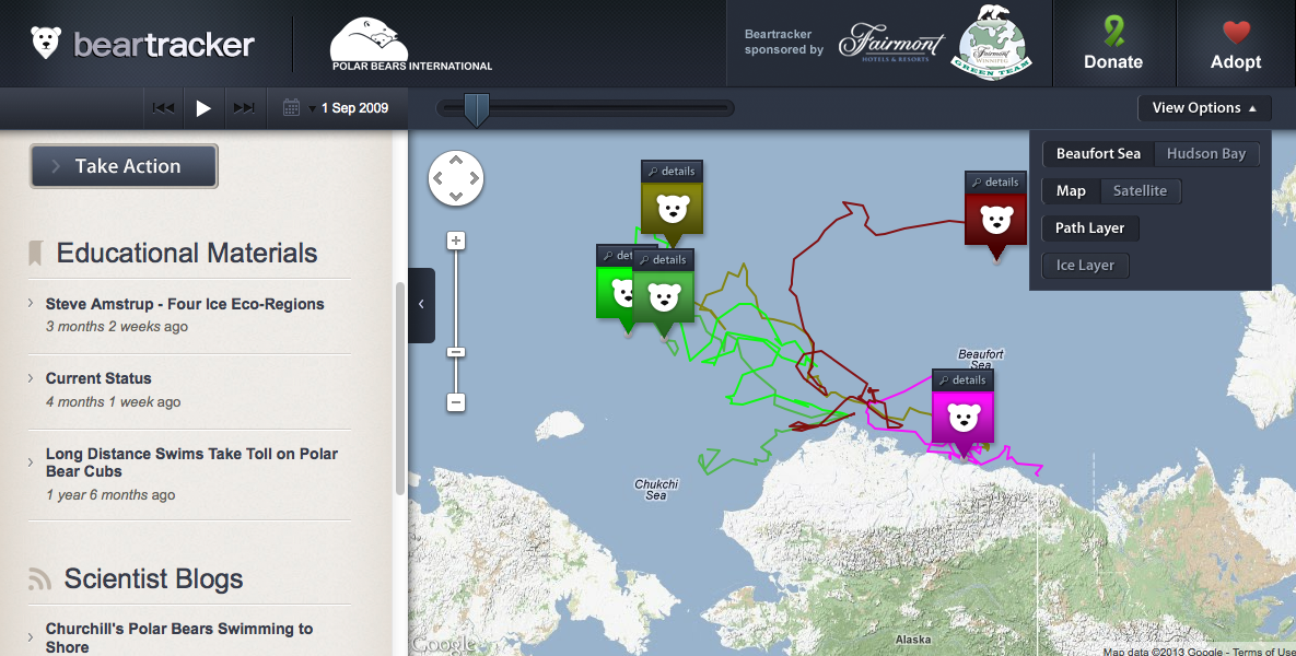 Free Technology for Teachers Tracking Polar Bears on Google Maps – Travel Tracker Map