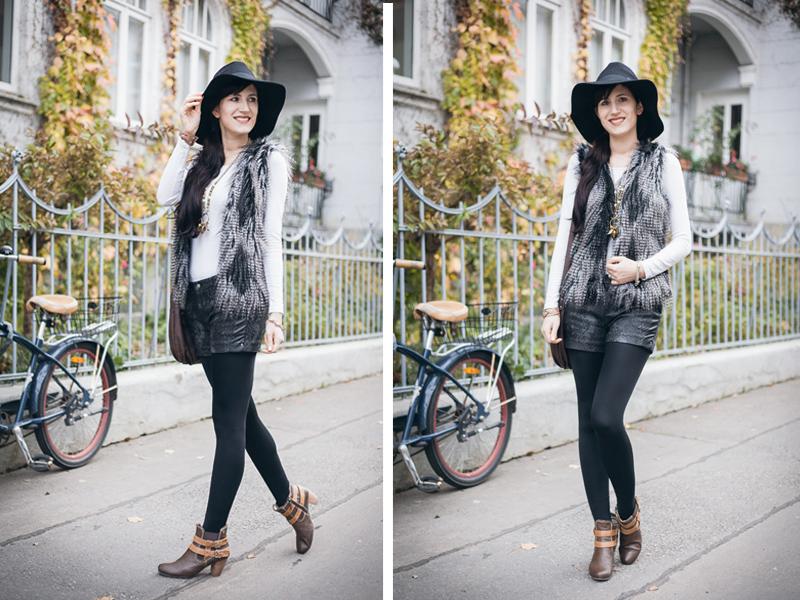 Bild Outfit Fellweste, Pepe Jeans Short, Fedora Hut