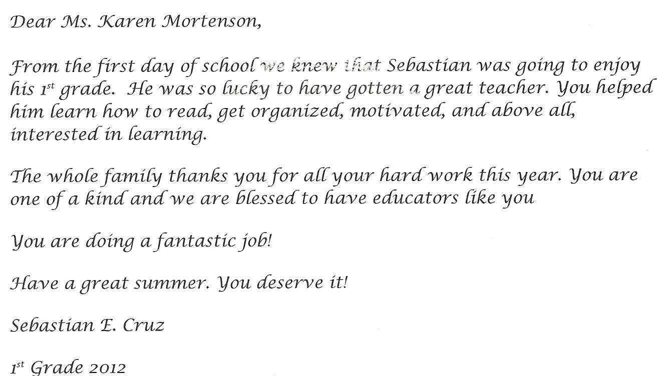 Letter Teacher Appreciation Teacher Thank You Letter From
