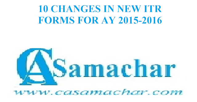 Income Tax Return Forms for Ay 2015-2016