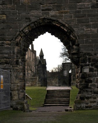 Looking at Dean's Gate from the Cathedral, St Andrews, Fife, Scotland