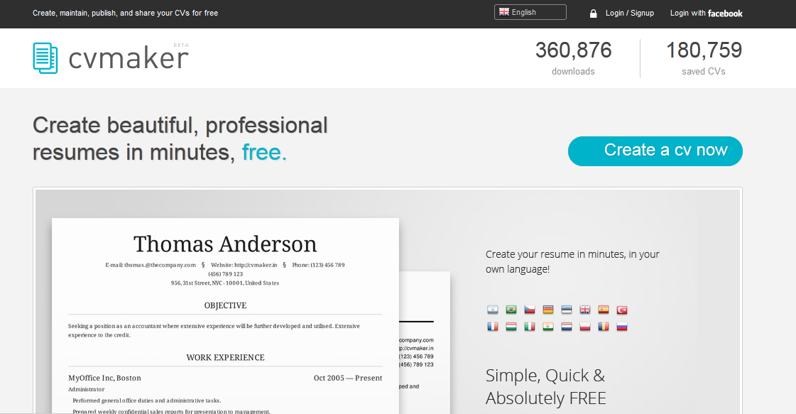 Cool Websites: CVMaker - For Creating Awesome-looking Resumes in ...