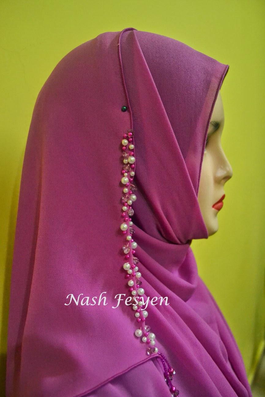 Nash Fesyen Shawl Jahit Manik