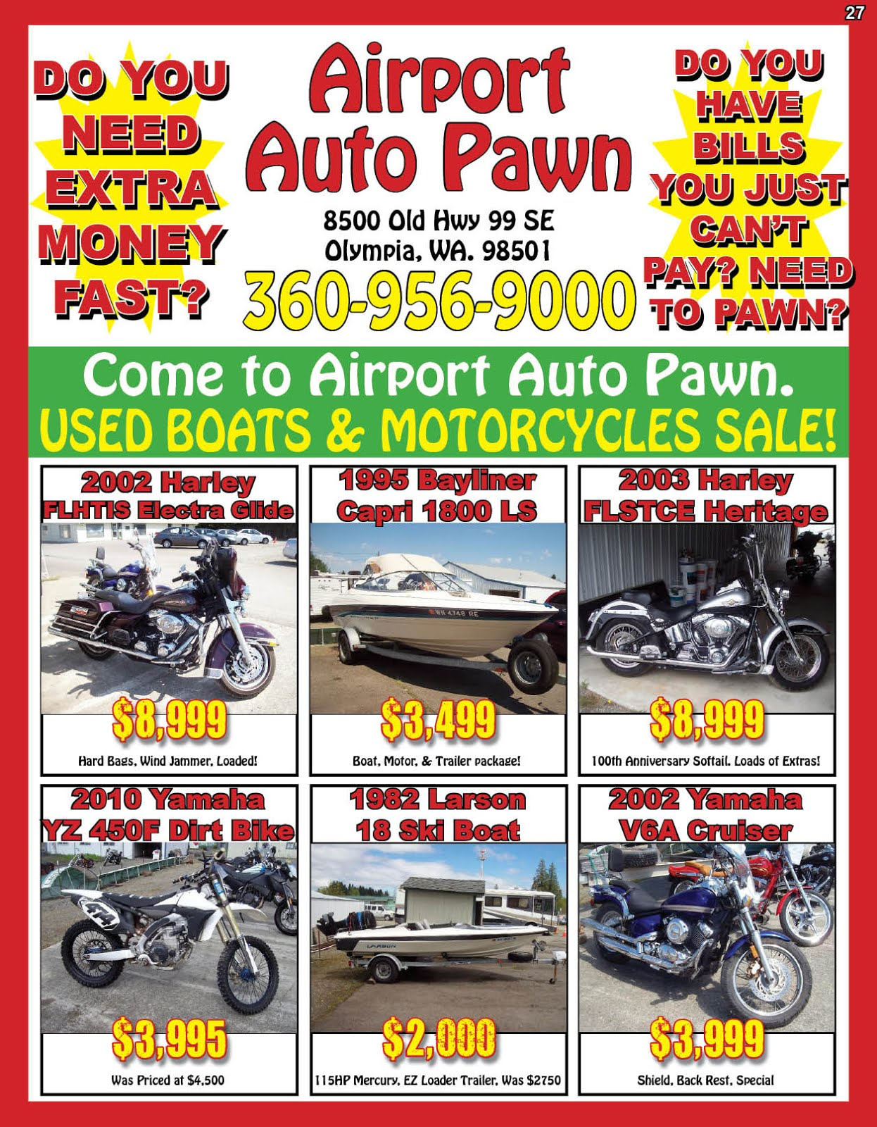 Airport Auto Pawn Used Boats & Motorcycle Sale!!