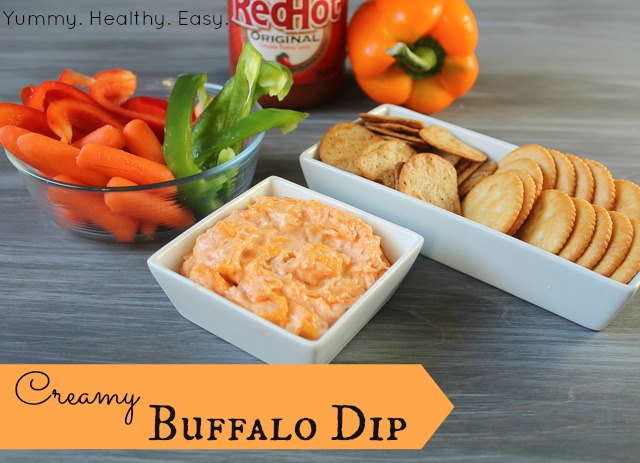 Creamy Buffalo Chicken Dip - Yummy Healthy Easy