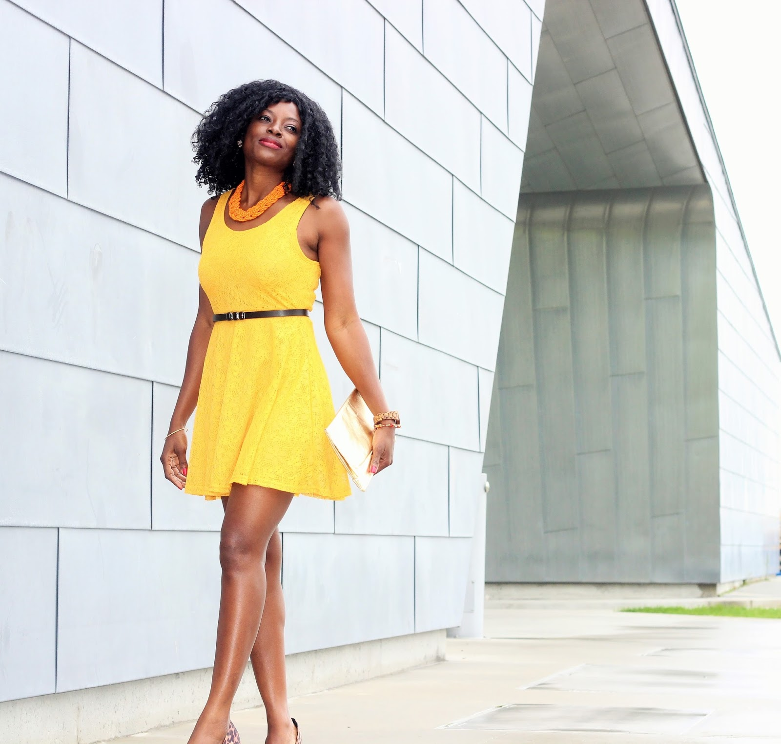 ORANGE BEADED NECKLACE x YELLOW SKATER DRESS