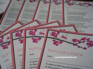 Pink cherry blossom wedding invitation