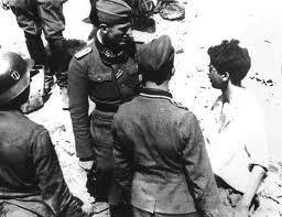 NAZI GERMANS INTERROGATE CAPTURED JEWISH FIGHTER - WARSAW GHETTO UPRISING
