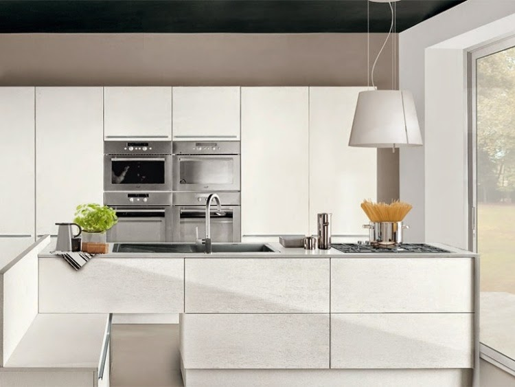 Modern white gloss kitchen units combined with other colors for Kitchen ideas high gloss