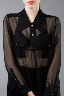 Vintage 1990's Chanel sheer black button down blouse with gold buttons.