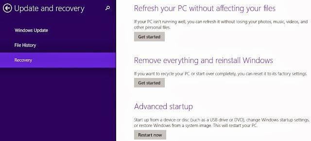 Mengaktifkan Recovery Windows 8.1 di ASUS Transformer Book T100