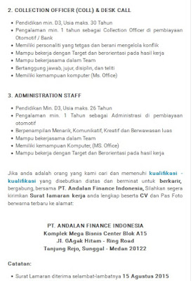 Lowongan Kerja D3 Medan PT Andalan Finance Indonesia