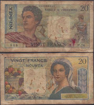 Nuova Caledonia 50 francs 1954 P# 50b