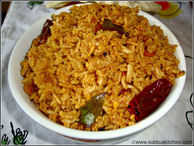 Karnataka Tamarind Rice | Subbus Kitchen