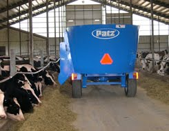 A Patz Vertical TMR Mixer in Operation on a Dairy Farm
