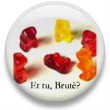 Button with Gummy Bears acting out Ceasar's death