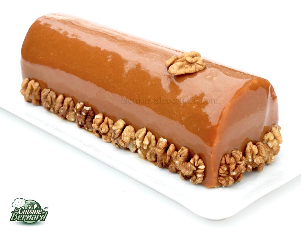 La cuisine de bernard b che noix caramel et chocolat for Glacage miroir caramel