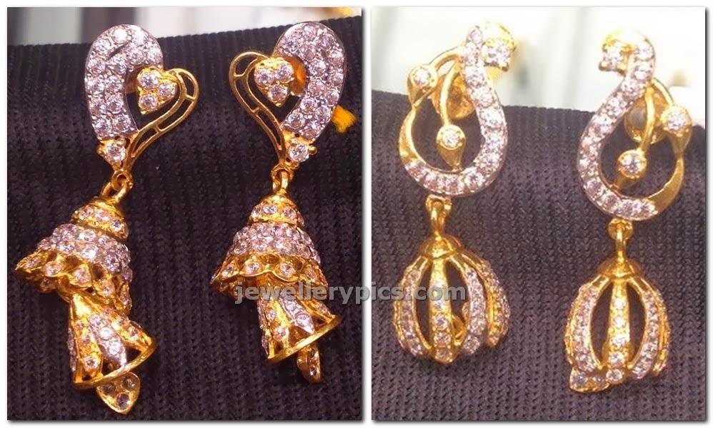 diamond heart shaped step jhumka