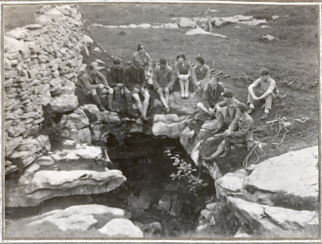 Leeds Cave Club outside entrance. Long Churn Cave, 1931.