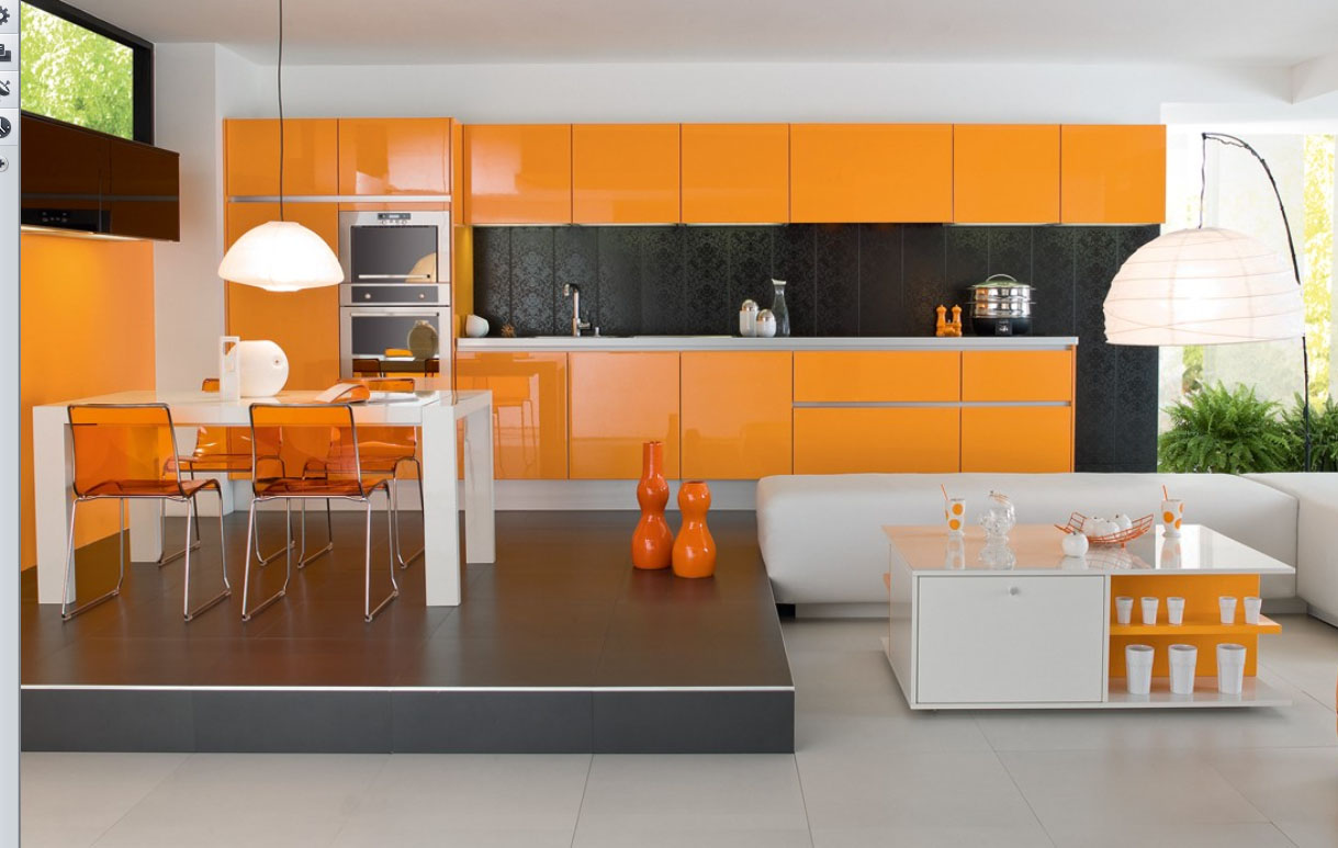 Modern house luxury orange interior design kitchen for Modern house kitchen