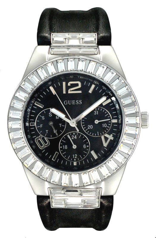 NEW GUESS BLACK LEATHER MULTIFUNCTION SWAROVSKI LADIES WATCH