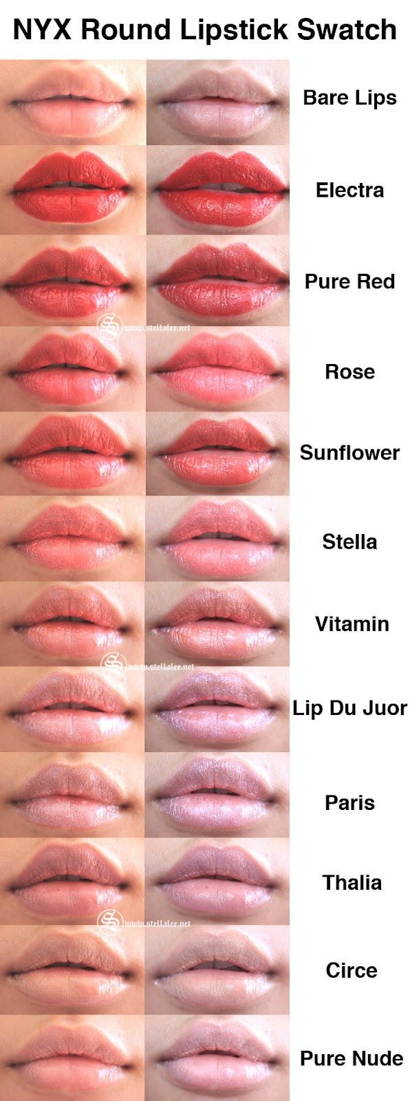 nyx round lipstick review swatches stella lee