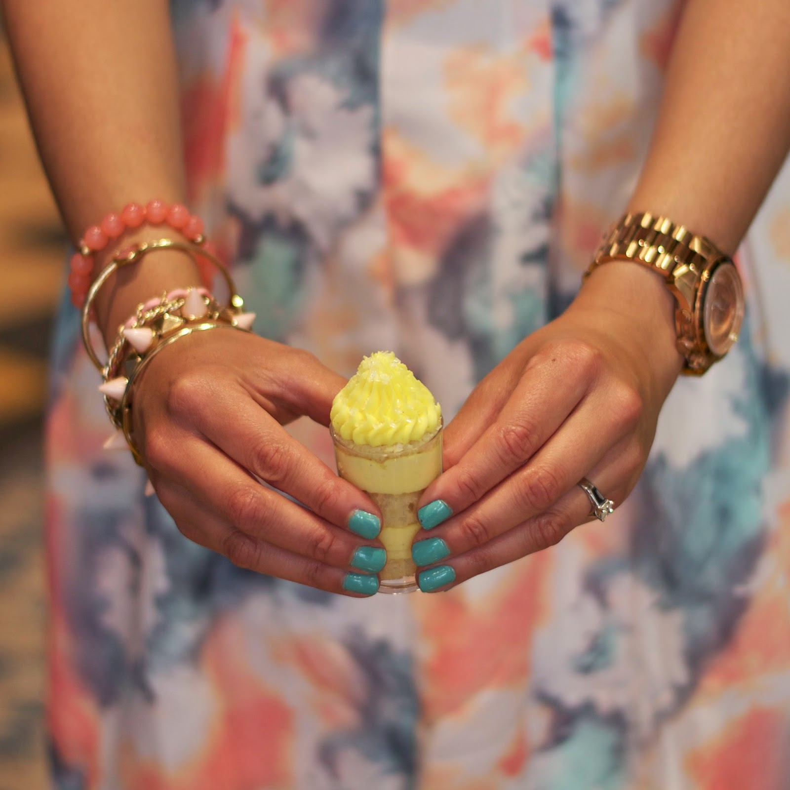 Minty Nails and Arm Candy, Minty Nails with gold, Peach Arm Candy, Pop of mint, YummyCupcakes SD lemon