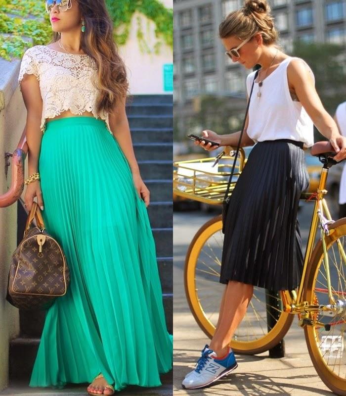 Moda - Saias plissadas tendência primavera-verão 2015
