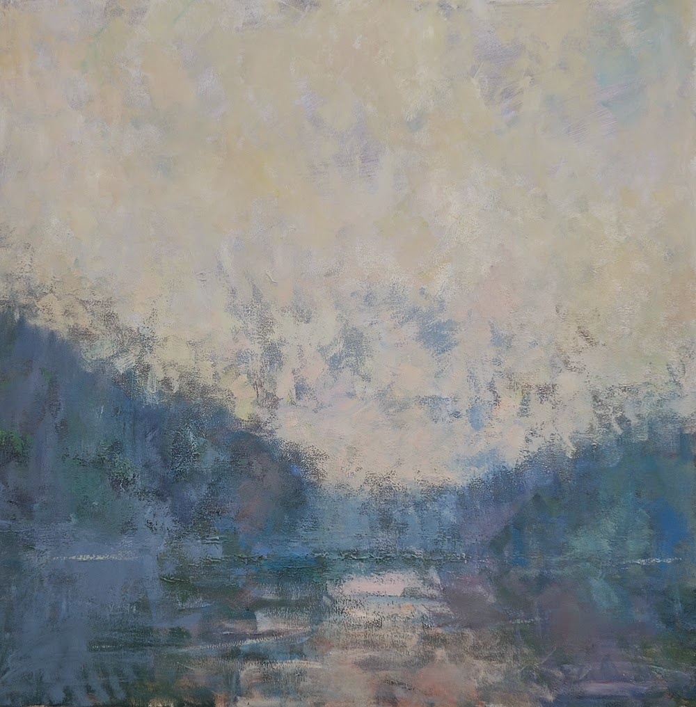 Impressionist landscape painting of trees reflected in a stream on a mid-summer day, by artist Steve Allrich.