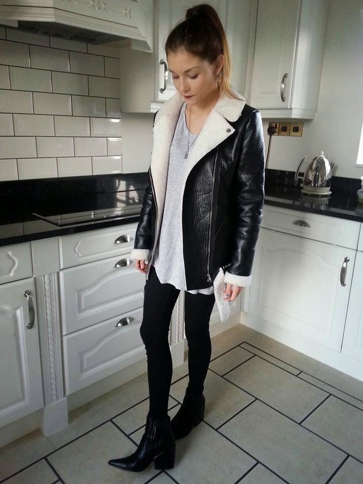 shearling jacket street style outfit fashion blogger uk